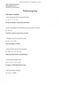 matematik problemregning opgaver