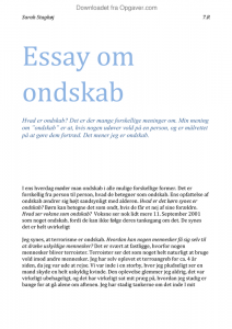 opgave 4 skriv et essay om ondskab