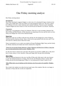one friday morning langston hughes analysis