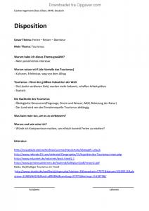 Disposition til emnet Ferien, Reisen, Abenteur - Tysk - Opgaver.com