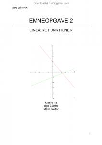 emneopgave lineære funktioner