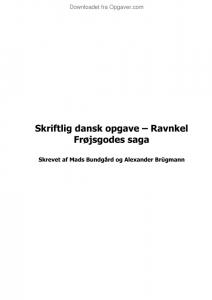 ravnkel frøjsgodes saga analyse og fortolkning