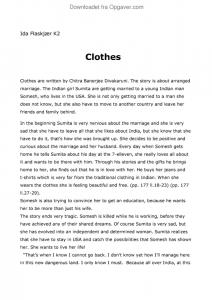 clothes divakaruni summary